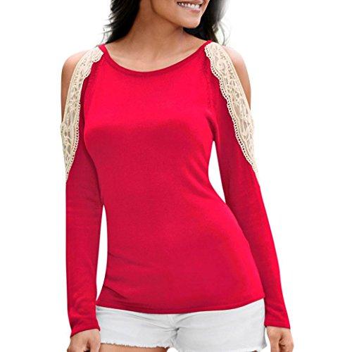 DAY8 Femme Vetement Sport t Shirt Blouse Femme Chic Soiree Bustier Haut Femme Grande Taille Printemps Vetement Femme Pas Cher Casual Chemise Femme Dentelle été Top Sweat Fille Fashion (L, Rouge)