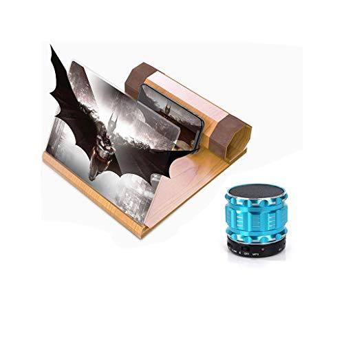 Lupen Leselupen HD Stereo-Projektionslupe Für 3D-Handybildschirm Zur Vergrößerung Der 12-Zoll-Desktop-Holzhalterung Aus Holz Ausklappbarer Handyhalterung Mit (Produkt + Bluetooth-Lautsprecher) Lesearb (Zur Verstärkung Lautsprecher)