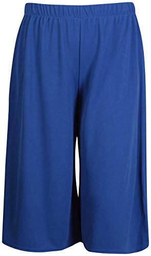 Damen Shorts Mini Culottes Hose - Übergrössen - EU 40 / 42, Königsblau (Shorts Damen Culotte)
