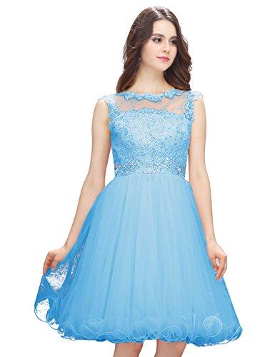 Dressystar Robe femme, Robe de princesse courte, aux appliques paillettes à fleur, en Tulle Bleu