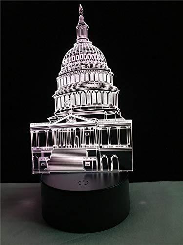 Großhandel Hauptstadt Weißes Haus 3D USB Led-Lampe 7 Farben Ändern Touch Senser RC Nachtlicht Arbeitszimmer Dekor Freund Geschenk Spielzeug