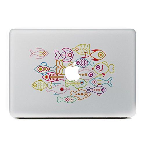 Vati ante fumetto di pesce vinile della decalcomania di arte della pelle nera per Apple Macbook Pro Air Mac 13