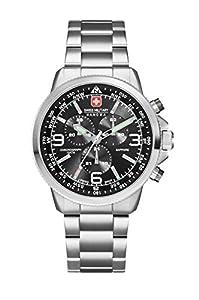 Swiss Military SM34208AEU/H04MS - Reloj de cuarzo para hombres con esfera negra y correa plateada de acero inoxidable de Swiss Military