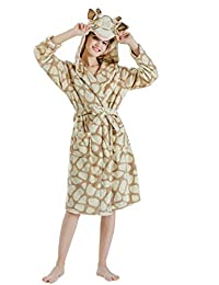Women s Dressing Gown Ultra Soft Warm Luxury Hooded Bathrobes Flannel  Pajamas e7dfb8a22