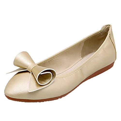 Ohmais Chaussure femme cérémonie Ballerines femme à bride Fête Demoiselle d'honneur Mariage Escarpin plat Or