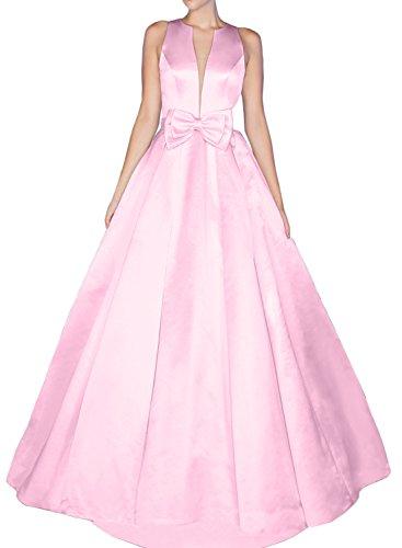 Gorgeous Bride Sexy Brautkleider LangV-Ausschnitte A-Linie Satin Abendkleider Lang Festkleider Ballkleider Rosa