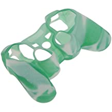 Imported Silicone Protective Skin Case Cover for Sony PS2 PS3 Controller - Green with White