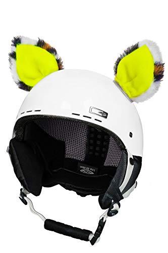 fahrradhelm neon gelb Crazy Ears Helm-Accessoires Ohren Katze Tiger Lux Frosch, Ski-Ohren geeignet für Skihelm, Motorradhelm, Fahrradhelm und vieles mehr. Helm Dekoration für Kinder und Erwachsene, CrazyEars:Neon-Gelbe Katze