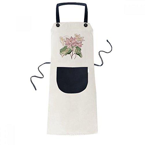 Lotus Flower Root (Lotus Flower Lotus Root Watercolor Plant Cooking Kitchen Beige Adjustable Bib Apron Pocket Women Men Chef Gift)