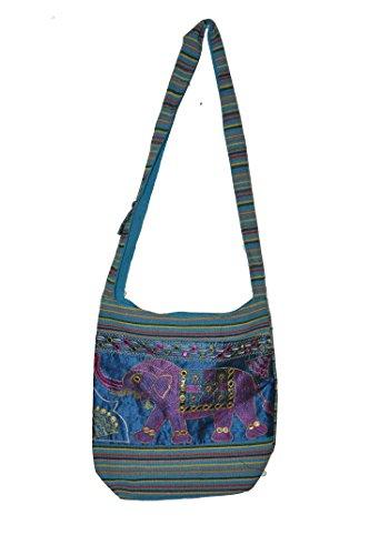 Collezioni Pm, Borsa A Tracolla Da Donna Multicolore Elefante Rosa E Viola Multicolore