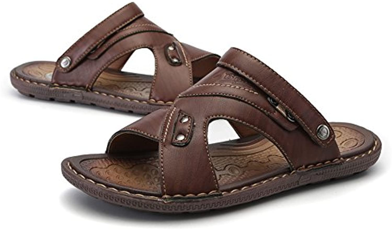 Jiuyue shoes  Herren PU Leder Strand Hausschuhe beiläufige Breathable rutschfeste weiche flache offene Zehe Summber