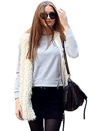 FEITONG mujeres del chaleco del estilo del medio de prendas de vestir exteriores capa sin mangas chaleco de la chaqueta de pelo