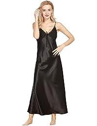 Surenow Nuisette Robe de chambre Chemise de Nuit Longue Lingerie Sling en Satin Sexy Uni Eté Pour Femme