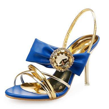 LvYuan Damen-Sandalen-Hochzeit Kleid Party & Festivität-Leder Kunststoff Glanz-Stöckelabsatz-Club-Schuhe-Blau Weiß White