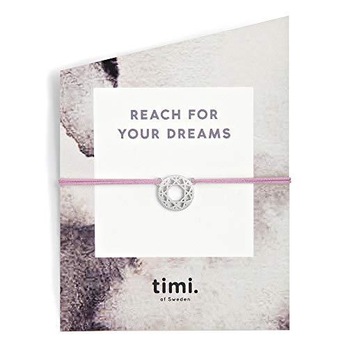Mint TIMI of Sweden - Pulsera elástica con diseño de atrapasueños, Color Plateado y Rosa