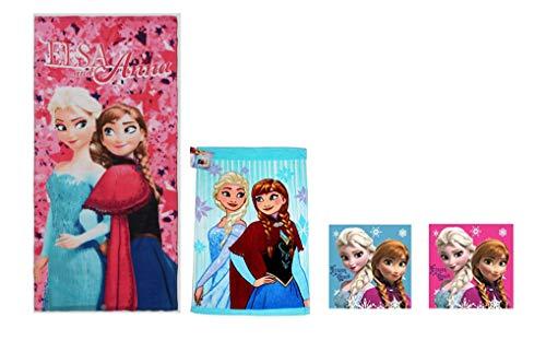 Diesney Frosen - 4er Pack - Frozen Kinder -Handtuch/Badetuch Set- 100% Baumwolle : 1 x Duschtuch, 1 x Gesichtstuch 2 x Handtuch - FR01