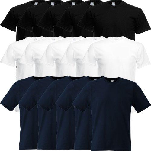 Fruit of the Loom Original Full-Cut T Rundhals T-Shirt F110 5er 10er 15er 20erPack 5x black 5x deep navy 5x orange