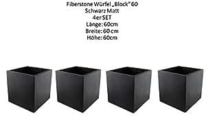 TERAMICO 4er SET LIGHT - STONE Cube 60 Schwarz groß Blumentopf Pflanzgefäß Pflanzkasten Pflanzkübel FROSTFEST besser als Fiberglas Quadratisch L: 60 cm B: 60 cm H: 60 cm