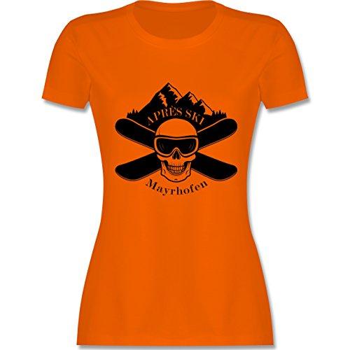 Après Ski - Apres Ski Mayrhofen Totenkopf - tailliertes Premium T-Shirt mit Rundhalsausschnitt für Damen Orange