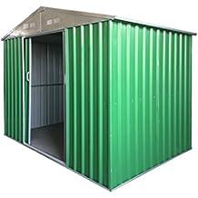 """Casetta da giardino Porta Utensili in LAMIERA ZINCATA 0,27 mm verniciata di verde con porte scorrevoli (""""L"""" L267 x P172 x H194 - 4,35 MQ)"""