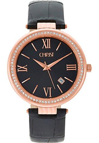 CHRIST times Damen-Armbanduhr Analog Quarz One Size, schwarz, schwarz