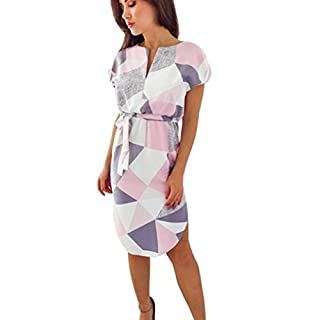 Amlaiworld Women Dresses ,Women Summer Short Sleeve Floral Print V Neck Belt Slim Plus Short Mini Dress (M, Gray)