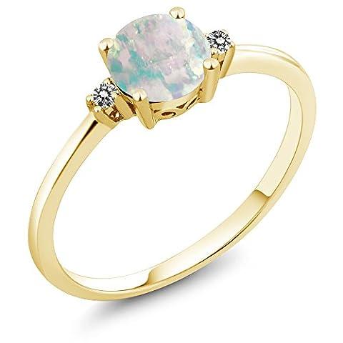 0.33 Ct Round Cabochon White Simulated Opal White Diamond 10K Yellow Gold Ring