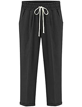 Hibote Pantalones Mujer 100% Algodón Pantalones de Verano 7/8 Longitud Pantalones Sueltos de Playa Pantalones...
