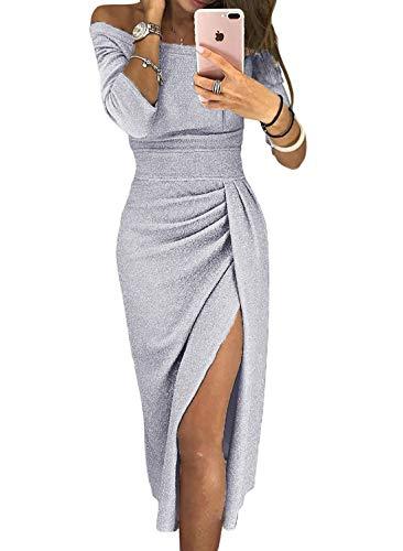 Aleumdr vestiti donna senza spalline abito donna invernale manica 3/4 vestito donna invernale tinta unita abito donna sexy