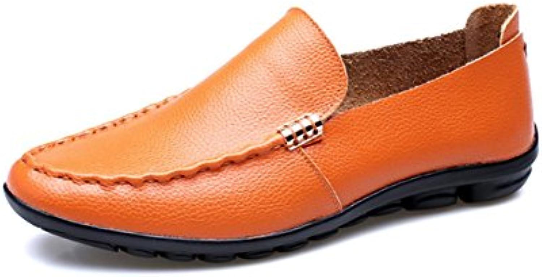 LYZGF Zapatos De Cuero Perezosos De Moda Casual Juvenil Primavera-Verano para Hombres,Yellow-40