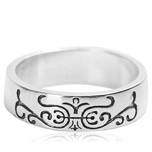Adisaer Sterling Silber Ring Herren Silber 925 Gothic Ringe Gravur Muster Ringgröße 57 (18.1) für Männer Vintage