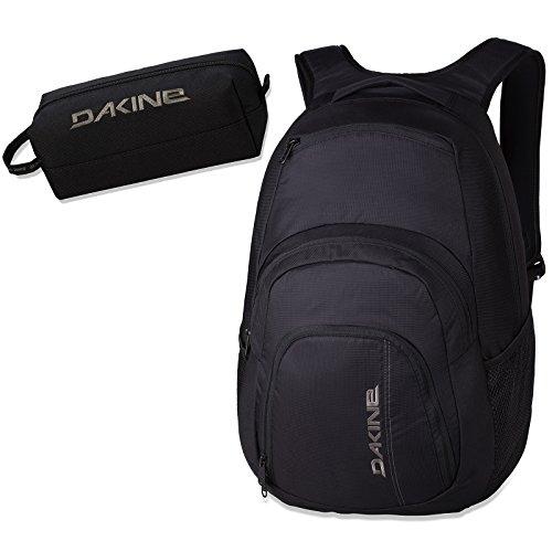 2er SET - DAKINE Schulrucksack CAMPUS LG Laptop Rucksack PURE BLACK // SCHWARZ // + DAKINE STIFTE ETUI ACCESSORY CASE SCHWARZ // 2 TEILE