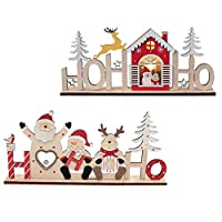 ‏‪FRCOLOR Christmas Wooden Decorations LED Luminous Desktop Ornament With Santa Claus Snowman Deer Xmas Holiday Home Party Decor‬‏