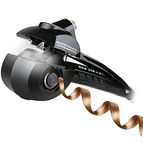 Pinzas Rizadoras, iFanze Rizador de Pelo Automático de Vapor, con 3 Temperatura Ajuste, 3 Tiempo Ajuste, Consigue Rizos, Bucles y Todo Tipo de Ondas, Negro