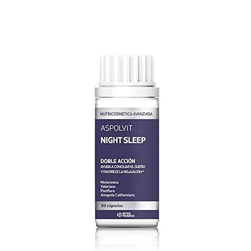ASPOLVIT – Night Sleep Suplemento natural con melatonina que ayuda a dormir mejor y elimina el insomnio – 60 Cápsulas