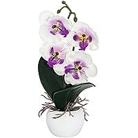 haysoms elegante orquídea Artificial en pequeña redonda jarrón, tela, blanco, 6x 6x 19cm
