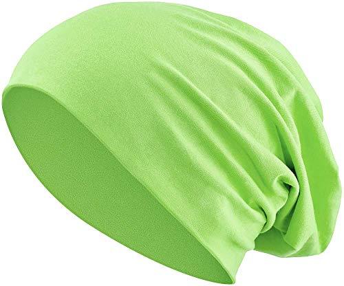 Jersey Baumwolle elastisches Long Slouch Beanie Unisex Mütze Heather in 35 (3) (Light Green) (Light Green Mint)