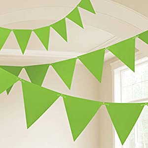 Amscan International- Cinta decorativa, Color 10m plastic pennant banner - kiwi green (9903789)