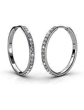 Creolen Ohrringe ohrstecker kreis Set Basic 925 Silber mit Kristallen von echt Swarovski Geschenk für Geliebte...