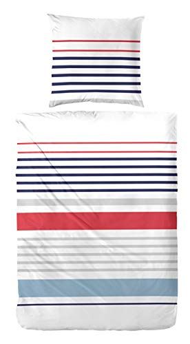 Aminata Kids - Bettwäsche-Set 135-x-200 cm Streifen gestreift-e rot blau weiß 100-% Baumwolle Renforce bunt-e -
