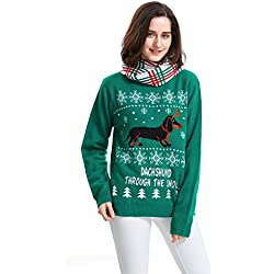 Shineflow Women's Dachshund Through the Snow Ugly Christmas Sweater Pullover Jumper