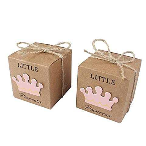 AerWo 50pcs Little Princess Baby Shower Favor Boxes + 50pcs Twine Bow, Rustic Kraft Paper Candy Bag Gift Box pour Baby Shower Party Supplies Cute 1st Birthday Girl Decoration, Rose