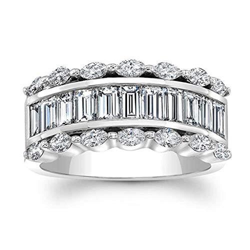 UINGKID Schmuck Damen Ring Wunderschöne und großzügige kreative Diamant Quadrat Zirkon Männer und Frauen Ring Schmuck -