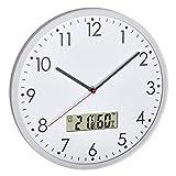 TFA Dostmann 60.3048.02 - Orologio analogico da parete con termometro digitale e igrometro, in vetro