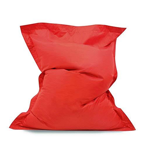 Puf gigante tipo desgarbado- Pufs para exteriores/interiores 100% impermeable (color rojo)