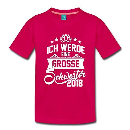 Spreadshirt Ich Werde Eine Grosse Schwester 2018 Kinder Premium T-Shirt, 98/104 (2 Jahre), Dunkles Pink