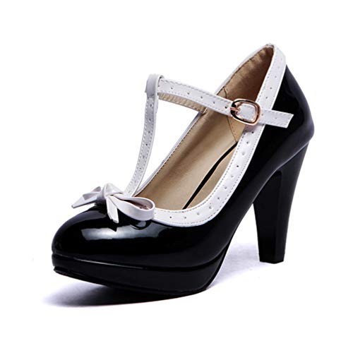 Frauen High Heels Princess Lolita Mary Jane Schuhe Bowtie Damen Sommer Armband Spike Heel Pumps Absatzhöhe 8.5 cm (Schuhe Jane Patent Mary)