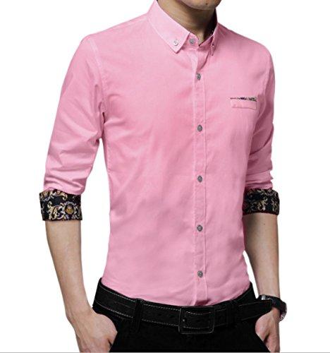Camicia A Maniche Lunghe Di Colore Solido Uomini Slim Inverno Pink