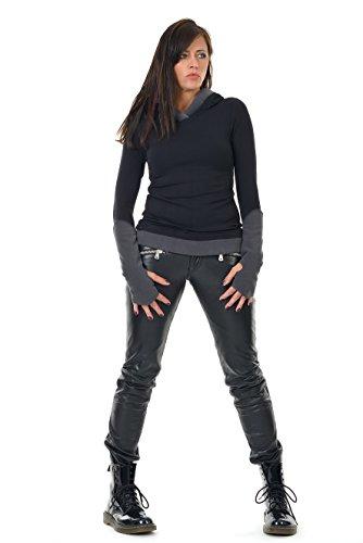 Winterpulli Hoodie Damen Pullover Herbst Winter Kleidung Daumenloch Mode 3Elfen, Kapuzenpulli Frauen schwarz grau S