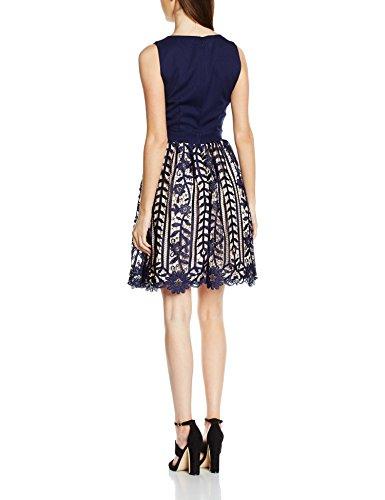 Little Mistress Damen Kleid Crochet Lace Plunge Blau (Navy)